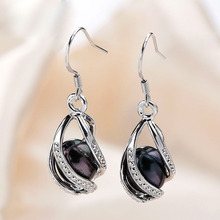 Natural Freshwater Pearl Drop Earrings 925 Sterling Silver