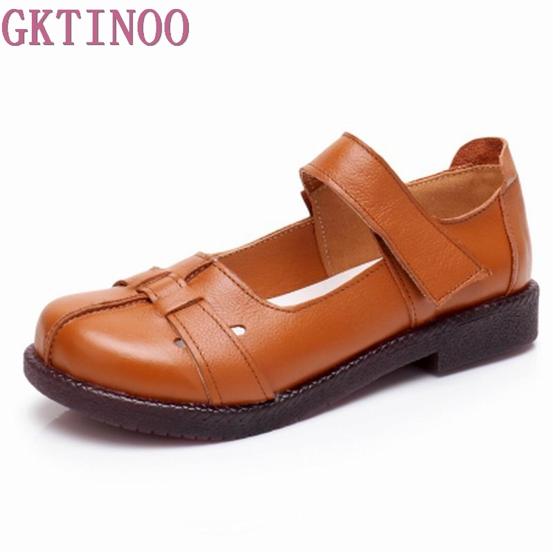 GKTINOO Summer Spring Genuine Leather Flat Casual Shoes Handmade Comfortable Women Flats Soft Single Shoes Solid Women Loafers gktinoo fashion handmade women genuine leather shoes hollow breathable summer spring flats ladies flats shoes casual shoes