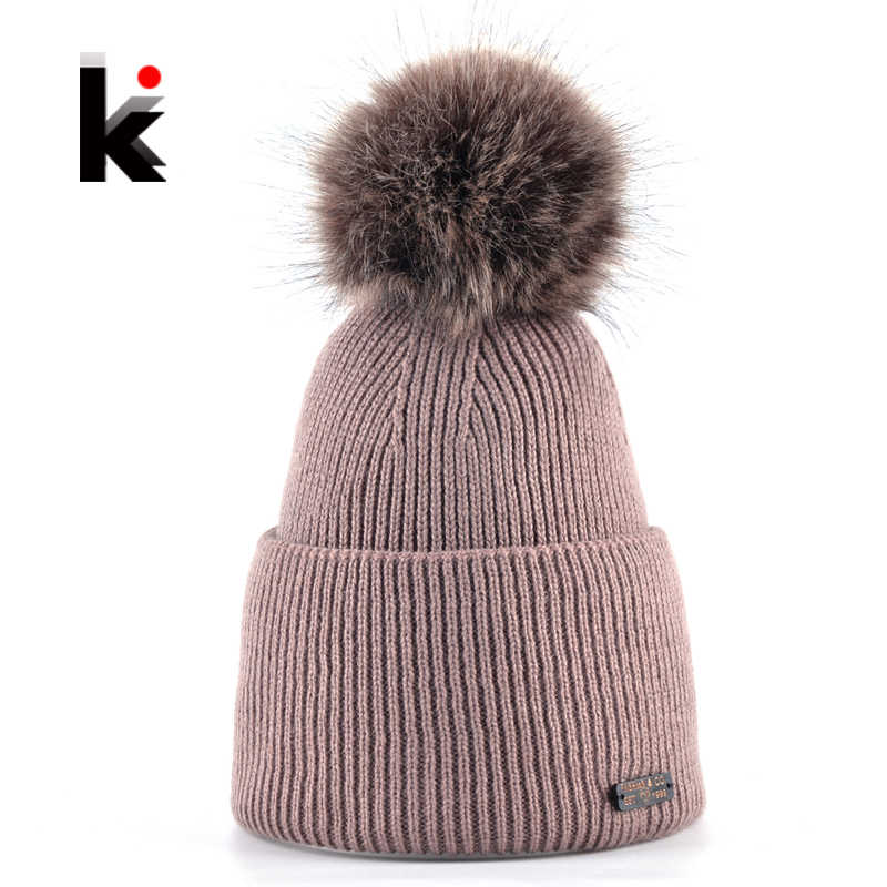 Women Beanies Imitation Fur PomPoms Beanie Hat Knitted Skullies Caps Female Knitting Solid Winter Hats For Ladies Bonnet Toucas
