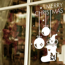 Christmas Snowflake Wall Decal Christams Bells Sock Design Sticker Shop Window Decor New Year Celebrate DIY Stickers AY1493