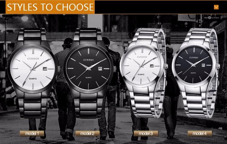 Curren 2016 Najlepsze Marki Biznesmenów Mężczyzna Luksusowy Zegarek Na Co Dzień Pełne stali Kalendarz zegarki Na Rękę zegarki kwarcowe relógio masculino 3