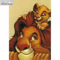 Full Square drill 5D DIY Diamond painting Lion dad and little lion Embroidery Mosaic Cross Stitch Rhinestone decor HYY