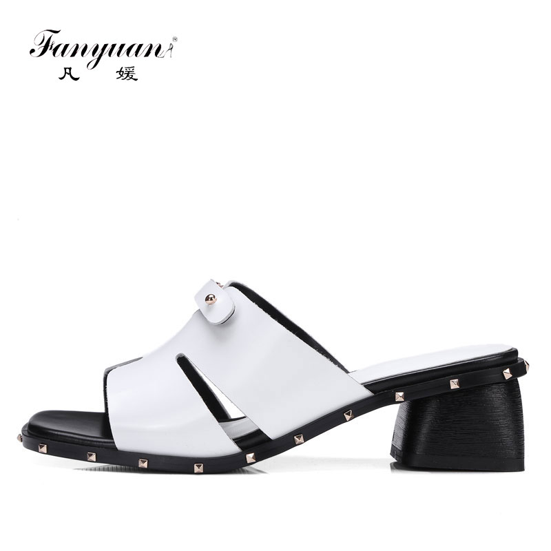 Fanyuan Women Slippers Genuine Leather Sandals Shoes Women Open Toe High Heel Sandals Ladies Slides Casual Mules Shoes yellow блок питания exegate atx 450npxe pfc 450w black 221637