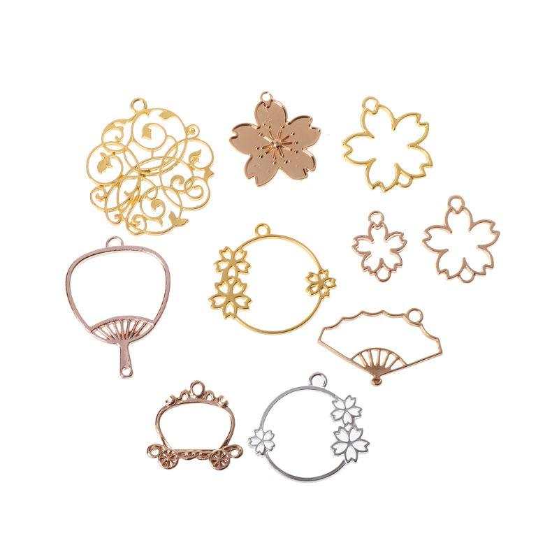 10Pcs Cherry Blossom Flower Frame Pendant Bezel Blank Setting UV Resin Jewelry