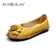 SUNROLAN Women Genuine Leather Loafers 2016 New Fashion Female Casual Shoes Soft Real Leather Handmade Flower Flat Shoes SS2682