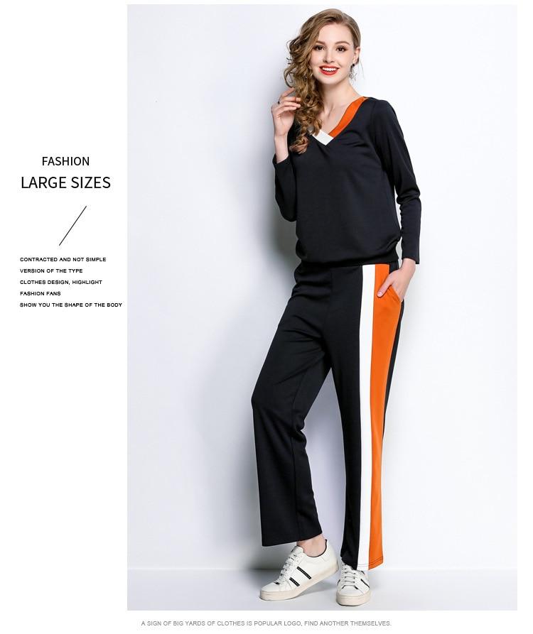 Pleine Et Pantalon Suit Costume Printemps 2018 Femmes Ensemble 2 L Manches Sportwear Survêtement Pcs 1 Swearshirt 5xl Long Sport Autumnswearshirt xXg84wq