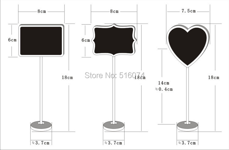 10pcs Shape Shape Mini Blackboard Stick Stand Place Holder Chalkboard Table Number Sign Wedding Party Decor