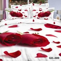 Chaude rose rouge fleur pétale 3d imprimé literie en coton égyptien housse de couette 1 pc pour fille chambre décor romantique couvre-lit de mariage