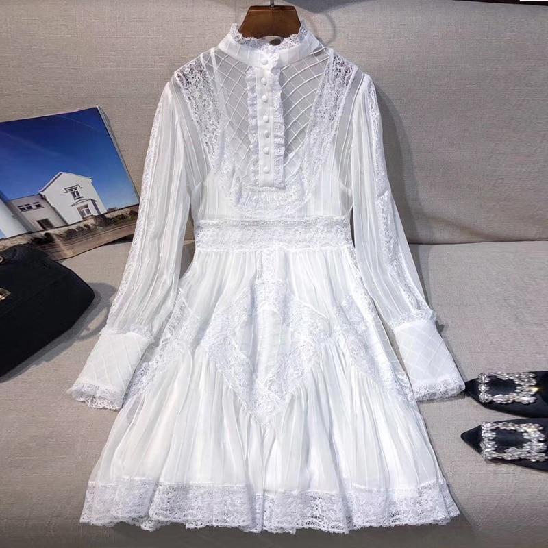 Белое кружевное платье для женщин с длинным рукавом женское платье наивысшего качества для леди 2019 Новое Женское модное платье