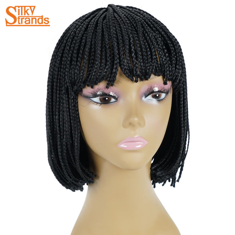 Silky Strands Synthetic Wig Short Braided Box Braid Wig For Women With Bangs Natural Black Heat Resistant High Temperature Fiber