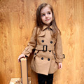 Ropa para niños otoño niña trinchera 2016 medio-grande niña zanja de medio-largo prendas de vestir exteriores