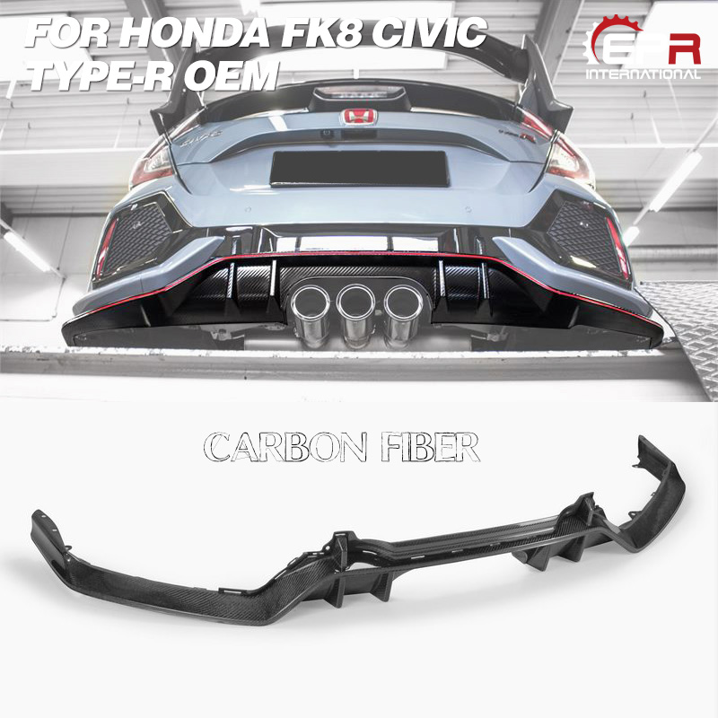 Diffuseur OEM en carbone pour FK8 CIVIC TYPE R OEM en Fiber de verre/FRP Kit de carrosserie de diffuseur arrière garniture de réglage pour pièce de course Civic FK8