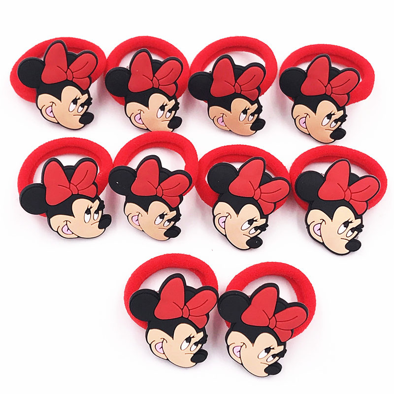 Hair Accessories 10pcs Mickey Minnie Hello Kitty Cat Pvc Elastic Rubber Hair Bands Girls Scrunchie Hair Accessories Accesorios Para El Cabello