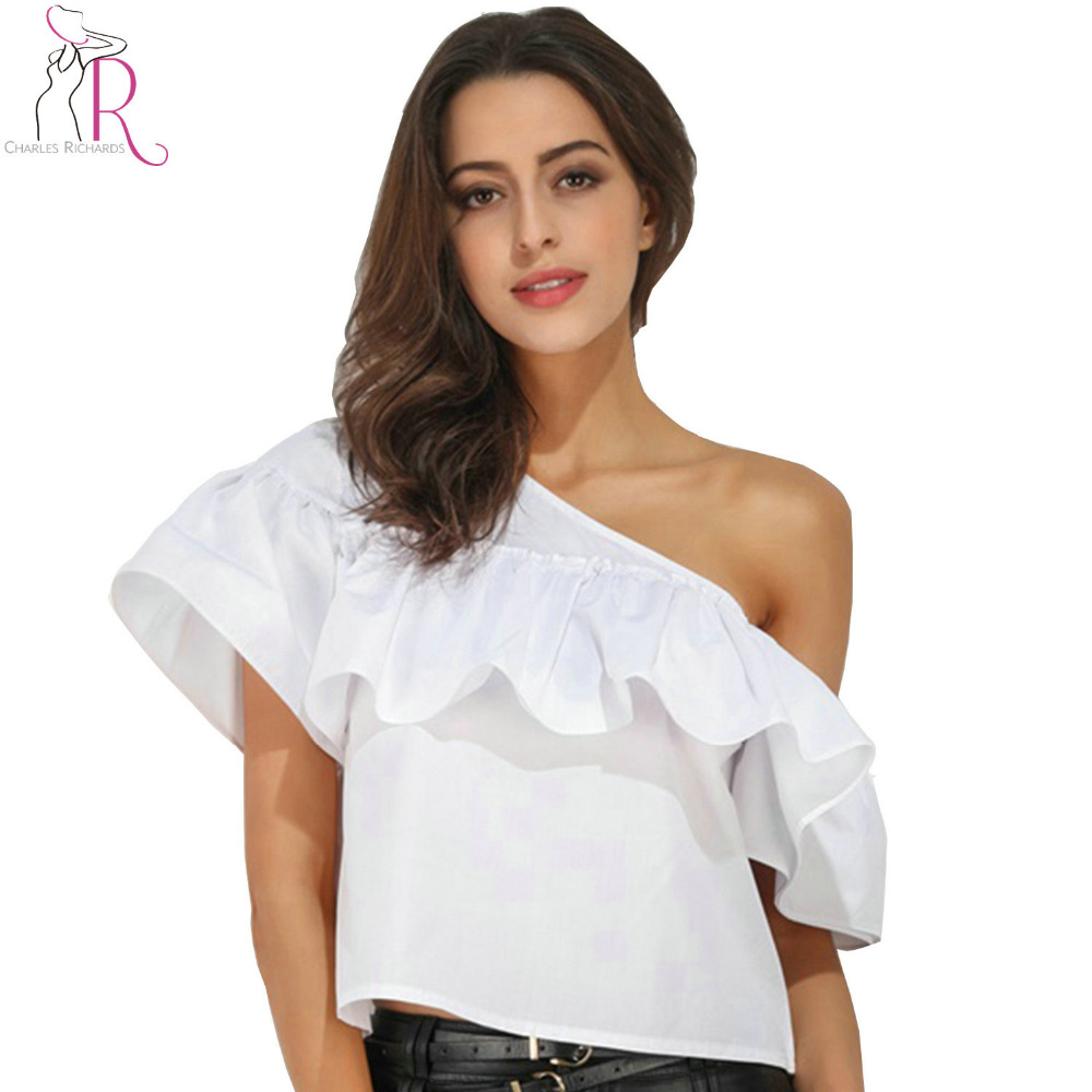 White Chiffon Front Silt Casual Style Backless Halter Top: White One Shoulder Ruffle Backless Crop Blouse Summer