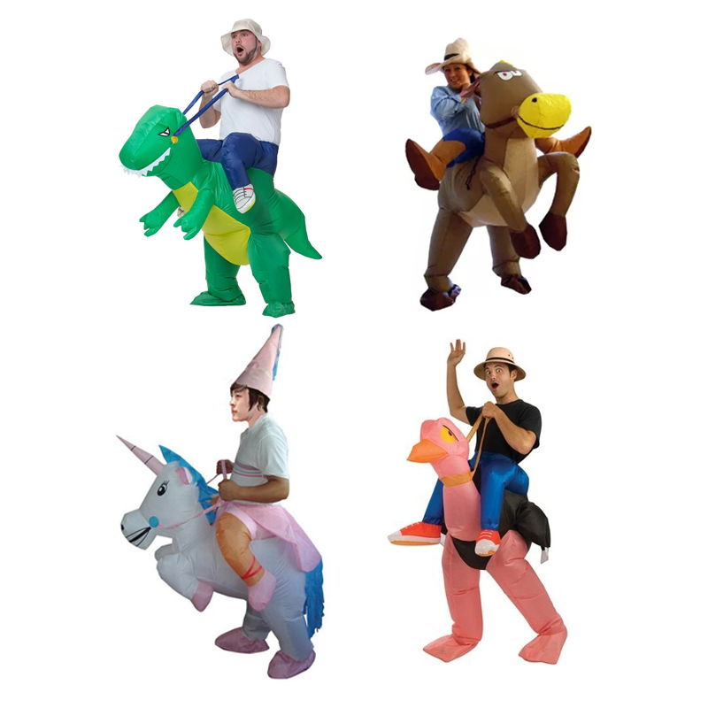 TOLOCO Carnival Purim Costume for adult Inflatable Dinosaur & Cow Costume Fan Operated Adult Cosplay Animal Dino Rider