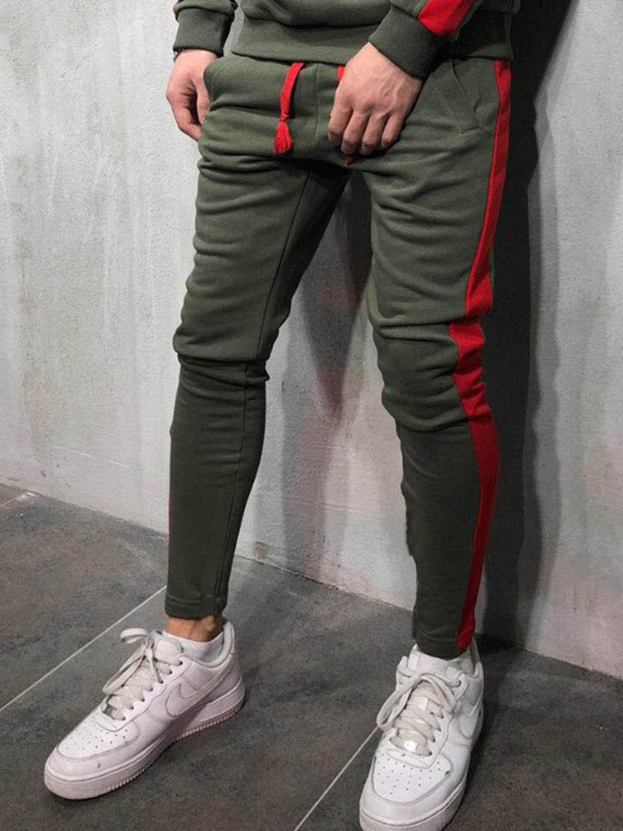 Мужские модные брюки для бега новые полосатые городские прямые повседневные брюки тонкие длинные штаны для фитнеса S-2XL - Цвет: Армейский зеленый