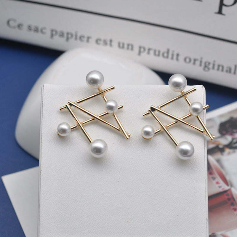 2019 hot fashion jewelry new design geometric metal earrings personality pearl wedding party earrings for Girls gift for woman