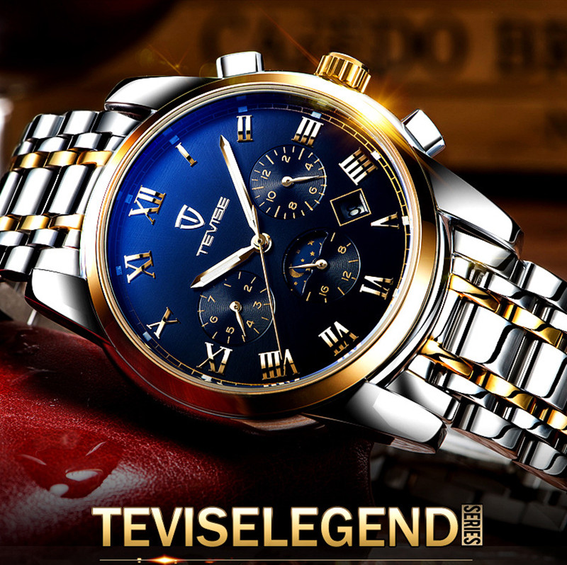 Men Watches Top Brand Luxury TEVISE Automatic Mechanical Watches Moon Phase Steel Clock Mens Wristwatches Relogio Masculino (3)