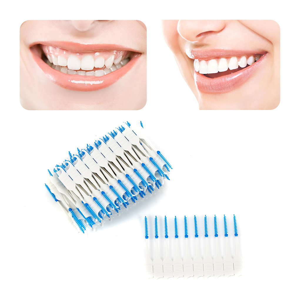 120pcs Double Floss Head Oral Hygiene Dental Silicone Interdental Brush Toothpick Toothbrush For Dentures