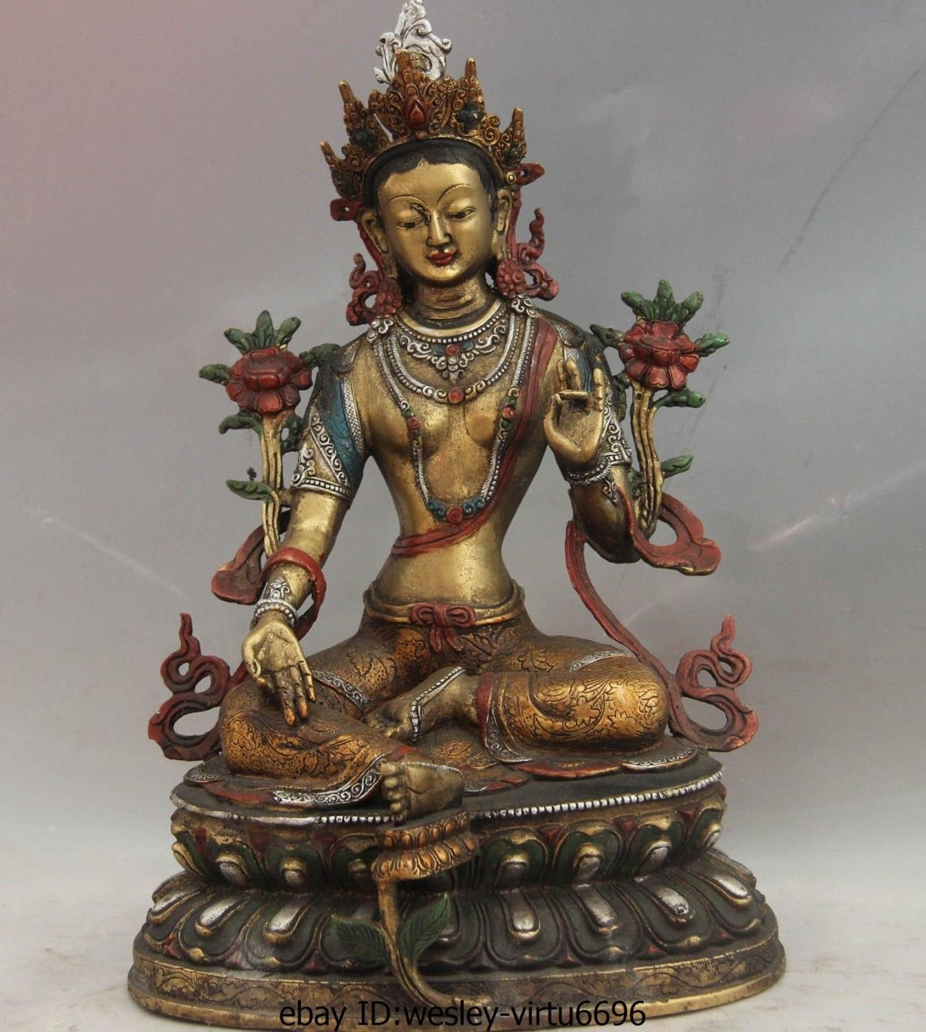 Tibet Temple Copper Bronze Color Painted Green Tara Bodhisattva Kwan-yin Statue