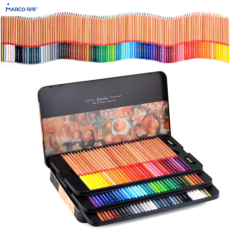 Marco 12/24/36/48/72/100/120 Oily colored pencils lapices de colores for Coloured Drawing Pencil Set Art Supplies crayons(China)