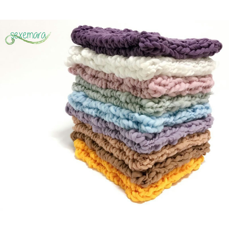 Wool Crochet Newborn Baby Girls Boys Blanket Newborn Photography Props,Crochet Knit Blanket Basket Background Filler 55*55cm