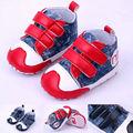 Мода Детская Обувь Сначала Ходьбы Обувь Крюк и Петля Холст Мальчик Обувь 0-12 Месяцев