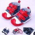 Moda Bebé Zapatos Primero Que Caminan de Gancho y Bucle de Lona Zapatos Del Bebé Prewalker 0-12 Meses