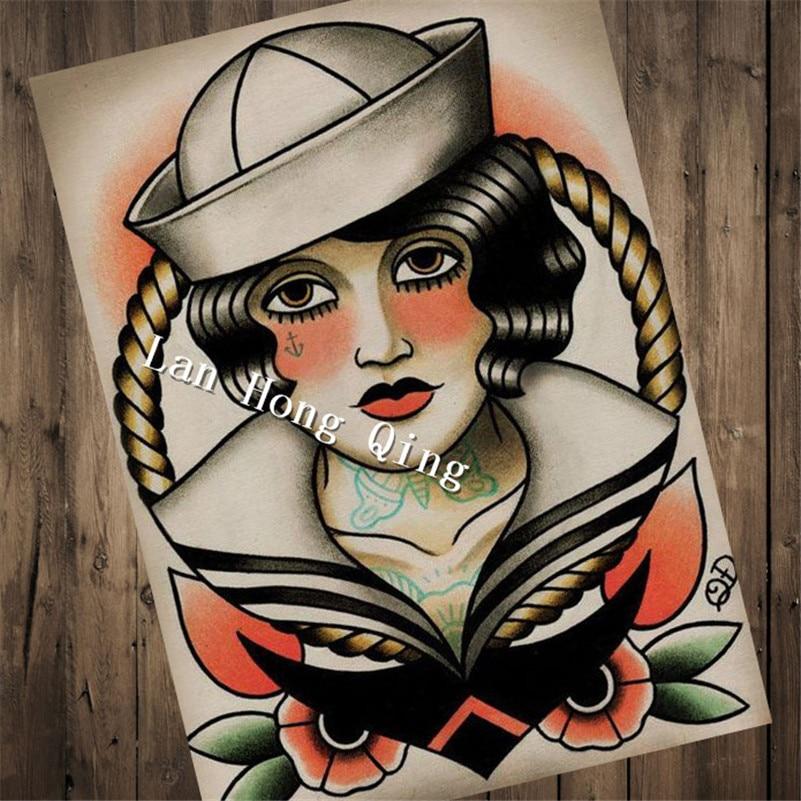 New Arrival Vintage Tattoos Design About Nurse Patterned Posters Kraft Paper Wall Sticker Barber Shop Home Decor Hm 045