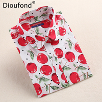 Dioufond Summer Pineapple Cherry Print Blouse Shirt Long Sleeve Cotton Women Blouses Casual Plus Size Shirts Blusas Femininas