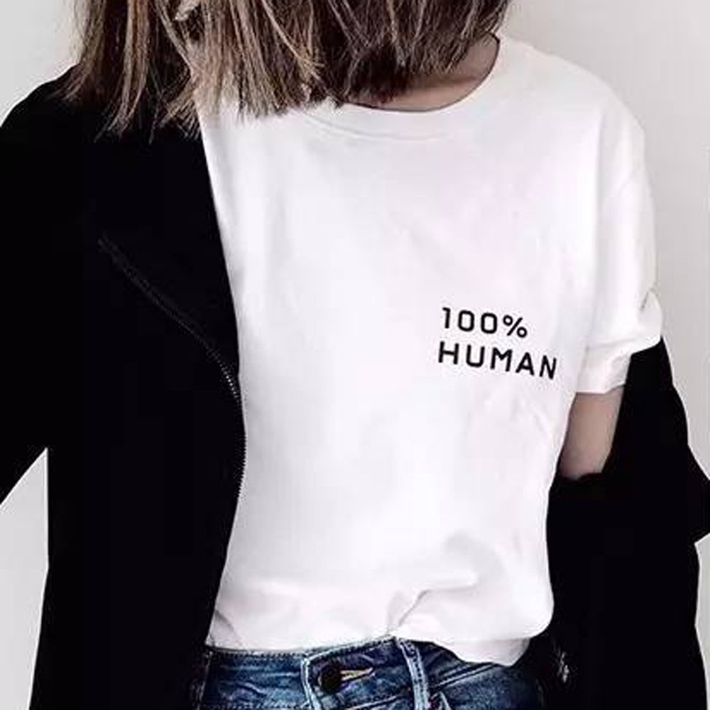 Human design t shirt - Womens 100 Human Tiny Slogan T Shirt Short Sleeve Statement Tee Funny Design T Shirt Novelty Tops