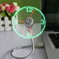 Flexible USB Fans Cool Gadget Fan LED Light Time Clock Creative Gift for Children Younger Festival