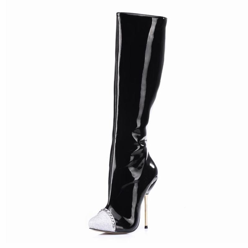 ФОТО Big Size Knee High Heels Winter Boots Women Shoes Woman Zapatillas Botas Zapatos Mujer Zip For Womens Ladies Party Dress Shoes