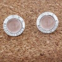 Silver 925 Sterling Jewelry Earrings Fit Woman Eardrop Letter Love Round Cabochon Stones Ross Quartz White