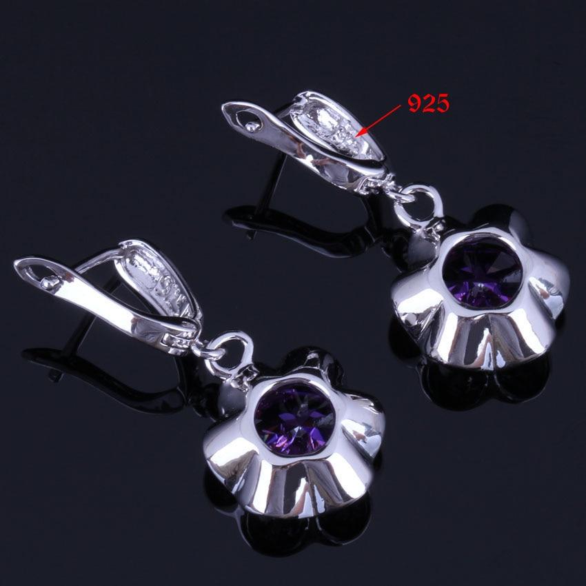 Super Round Purple Cubic Zirconia 925 Sterling Silver Jewelry Sets For Women Earrings Pendant Chain Ring V0983 in Jewelry Sets from Jewelry Accessories