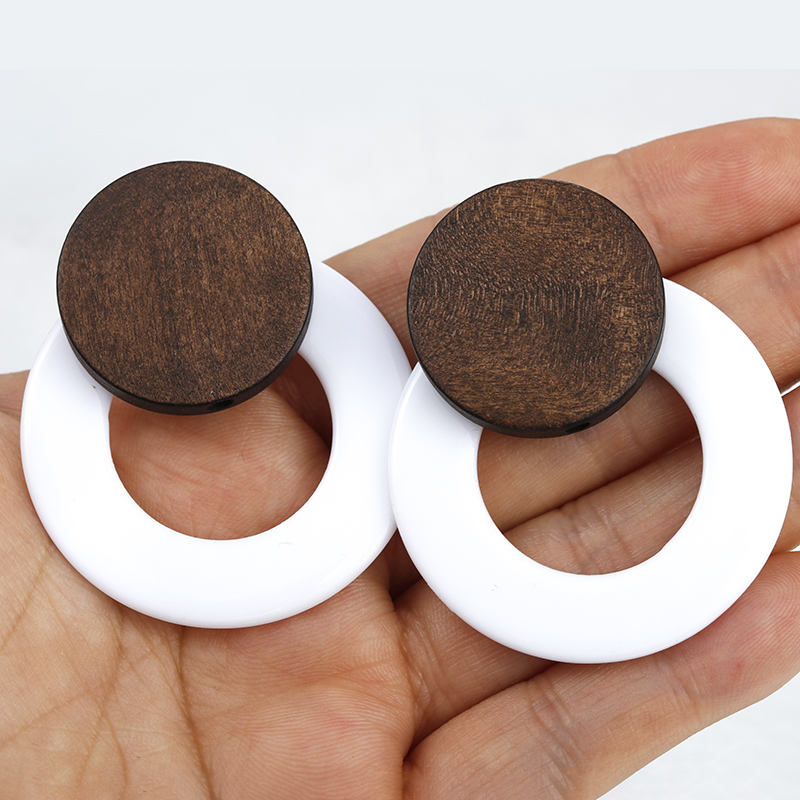 AENSOA Vintage Round Wood Acrylic Earrings For Women Statement Stitching Geometric Drop Earrings Party Jewelry Accessories