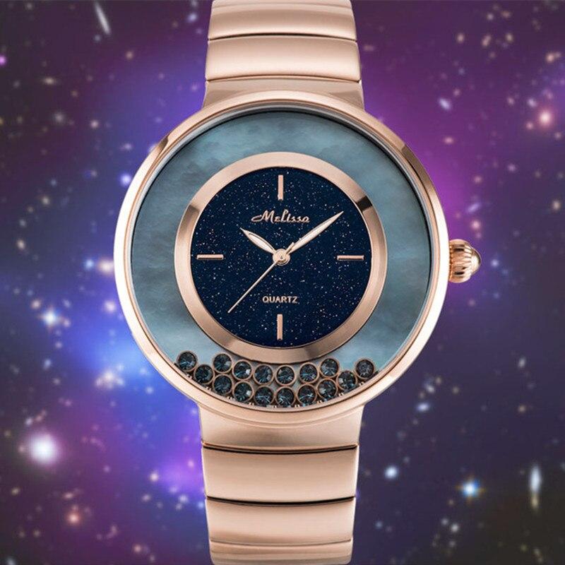 Marca de Jóias de Luxo Relógios para Mulheres em Movimento Areias de Cristal Pulseira de Relógio de Pulso de Aço Melissa Completo Assistir Starry Night Stars Montre