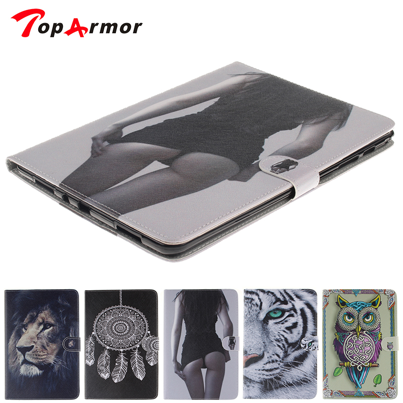 TopArmor For Samsung Galaxy Tab A 9.7 inch T550 SM-T555 T555 Tablet Case Painting OWI Tiger Style Pu Leather Stand Case Cover case for samsung galaxy tab a 9 7 t550 inch sm t555 tablet pu leather stand flip sm t550 p550 protective skin cover stylus pen