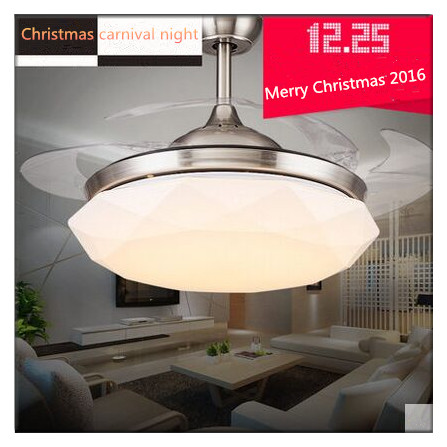Modern Irregularity Round Shaped LED Ceiling Fan Lights with Foldable Invisible Blades