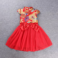 Girls trend V collar dress Chinese classical red  dress festive celebration of the new year
