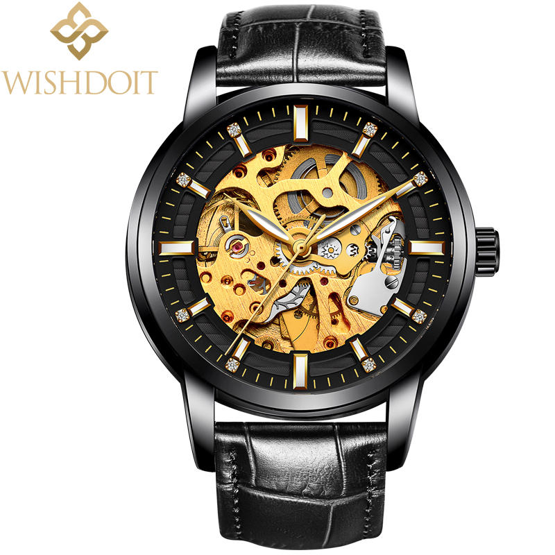2018 WISHDOIT Gold Luxury Brand Mechanical Watches Waterproof Wristwatch Business Automatic Skeleton Watch Men Relojes Hombre rosdn luxury men gold watches famous brand men s automatic mechanical watch mans gold skeleton mechanical wristwatch