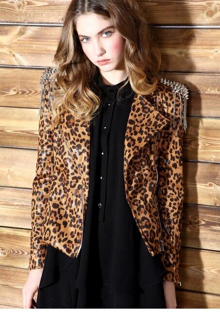 29059558 2016 Krazy's obsession with leopard tassel Short Shoulder epaulets rivet  slim leather 6085 locomotive female costume