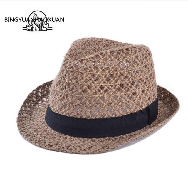 Musim Panas Gaya BINGYUANHAOXUAN dewasa Topi Matahari Pantai Topi Fedora  Trilby Panama Topi Jerami Sunhat Gangster ca6d5c971e