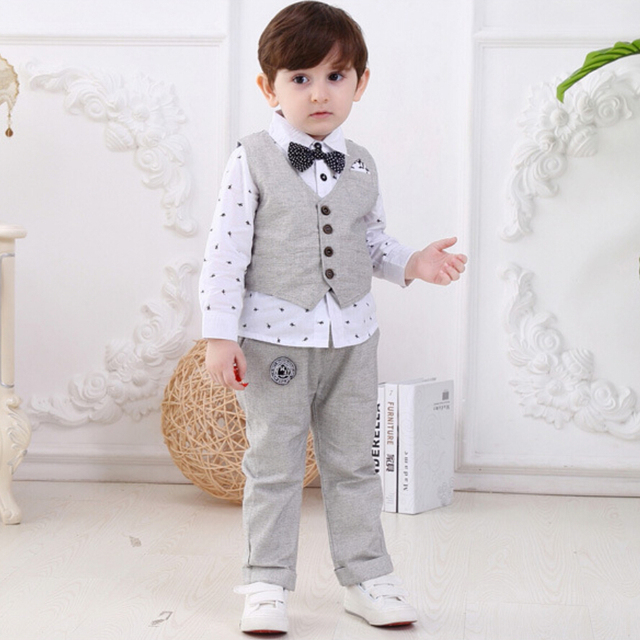 fb403f1c41c3 baby boy suits gentleman clothes suit vest gentleman cotton full turn down  collar boy 3 piece suits formal 6months to 4 years