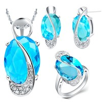 Wholesale Jewelry Gift African Beads Jewelry Set Silver Blue Silver Necklace Sets Women Rings Wedding Earrings