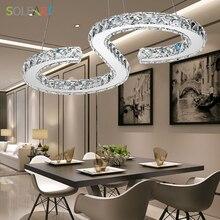 SOLFART Pendant Lights with Crystal LED lamp stainless steel Chandelier lighting dimming Modern Dining Bedroom light fixture