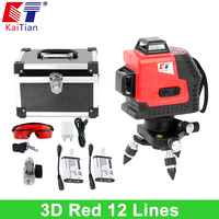 KaiTian 3D Laser Level With Battery Slash Function And 360 Rotary Self Leveling Outdoor 650nm Laser