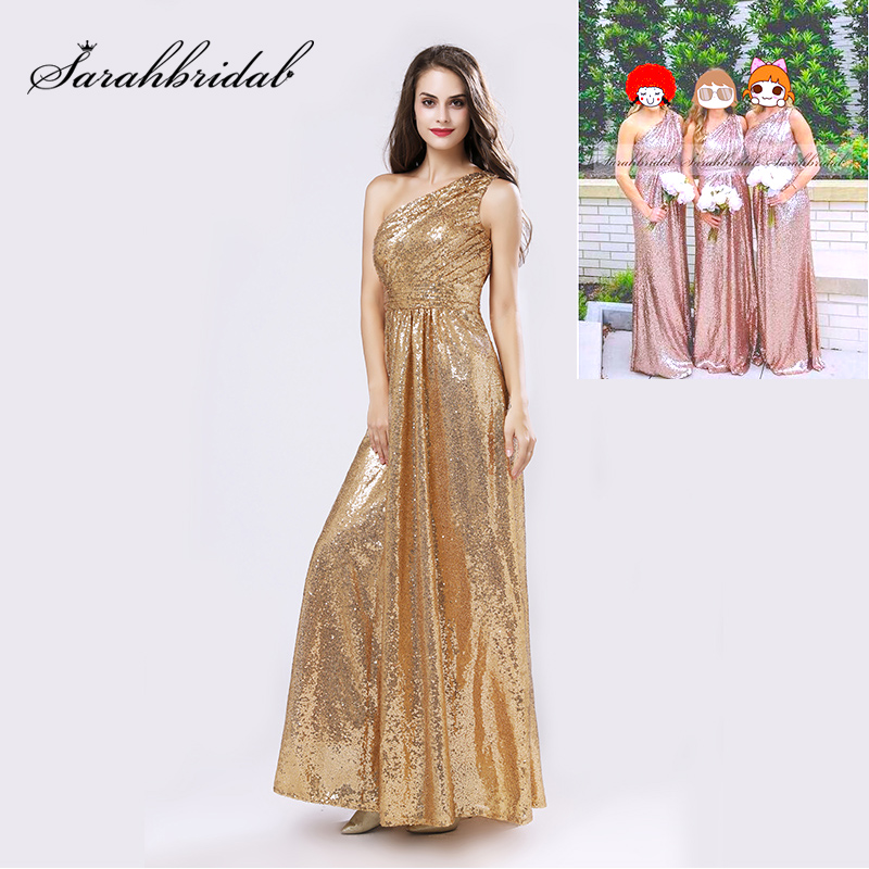 US $69.93 30% OFF|One Shoulder Gold Sequin Bridesmaid Dresses Cheap A Line  Maid of Honor Dress Women Plus Size Long Wedding Party Gowns OS421-in ...