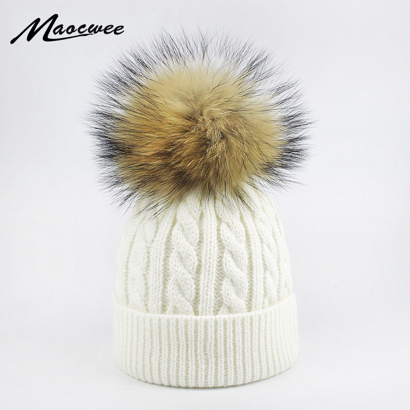 Children Winter Raccoon Fur Hats 100% Real Fur Pompom Beanies Cap Natural Fur Hat For Kids 2018 Fashion Boy Girl Skullies