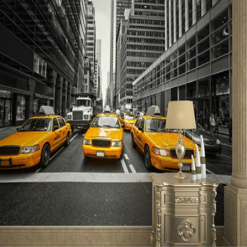 WALLPAPER NEW YORK YELOW CABS B/&W STREET WALL PAPER 300cm wide 240cm tall WMO084